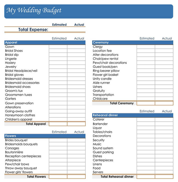 indian wedding budget worksheet
