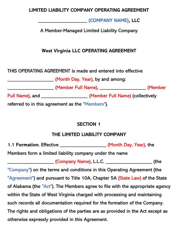 West Virginia LLC Operating Agreement