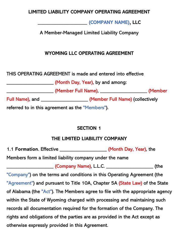 Wyoming LLC Operating Agreement