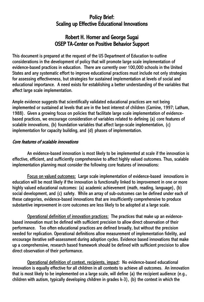 one page policy brief template 1