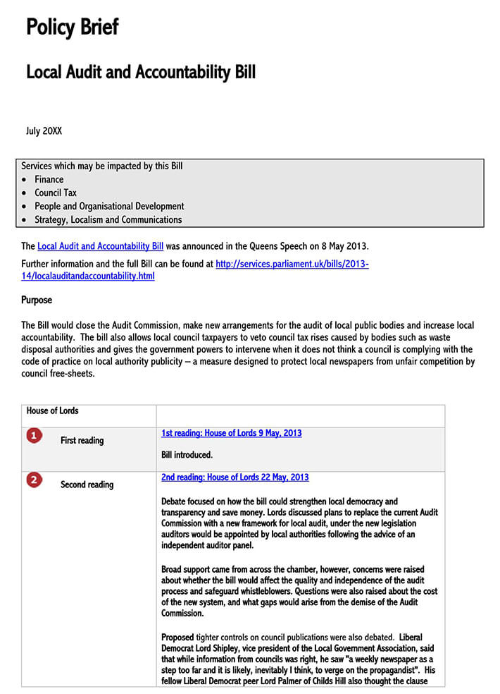 one page policy brief template
