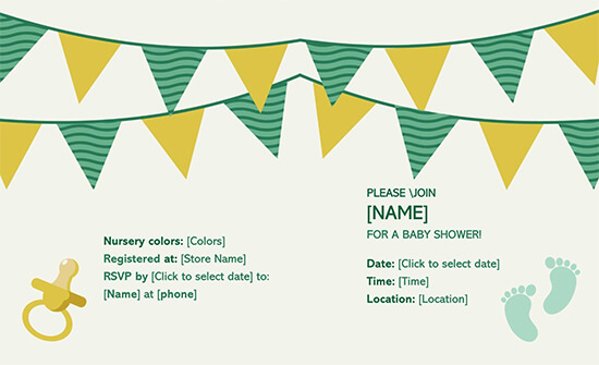 Baby Shower Invitation with RSVP Template