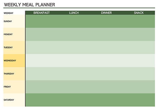 Basic Meal Planner Template