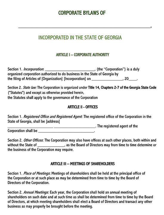 free bylaws template for nonprofit organization
