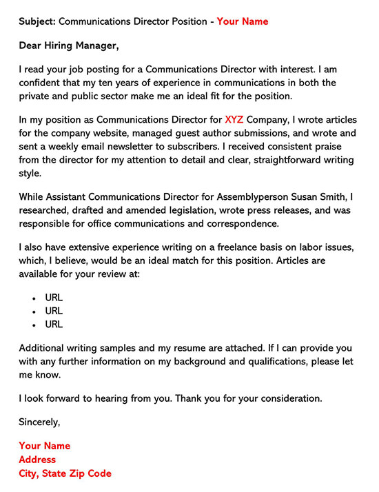 Communication Director Position Cover Letter Template
