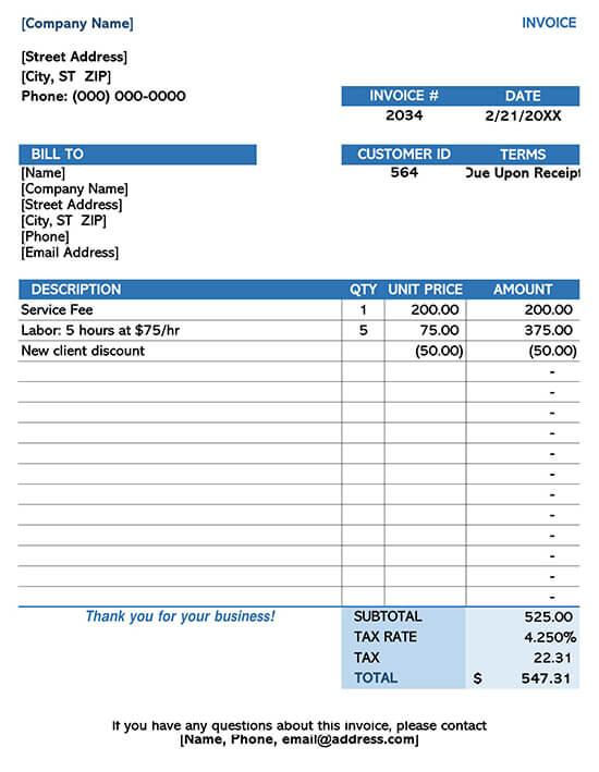 Company Service Invoice Template