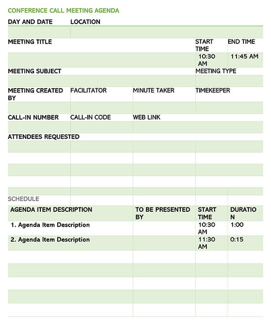 Conference Call Meeting Planner