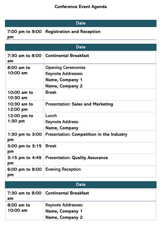 Conference Event Agenda Template