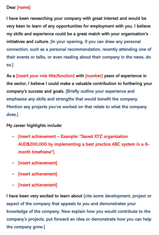 Cover Letter Template Cold Contact Prospecting
