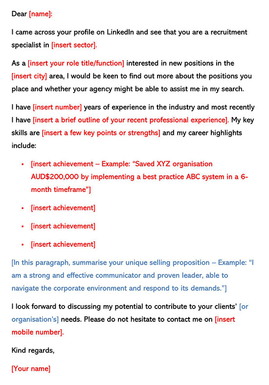 Cover Letter Template for Linkedin Recruiter