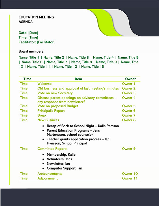 Education Meeting Agenda Template