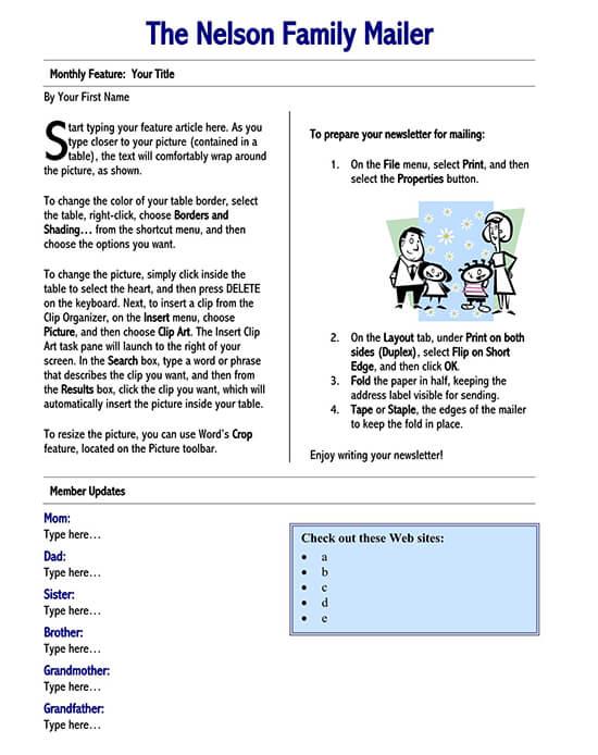 Family Newsletter Template Word from www.wordtemplatesonline.net