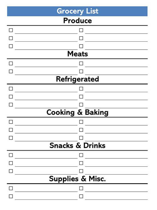 Grocery List Print Fold Template