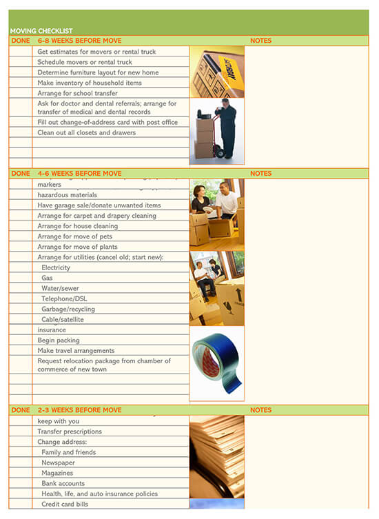 Home Moving Checklist Template