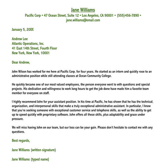 reference letter for employee