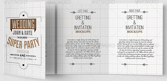Invitation and Greeting Card Mock up Template
