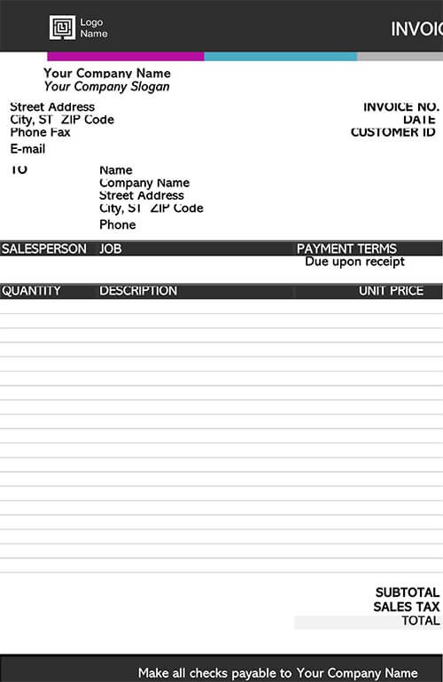 Invoice for Service Template