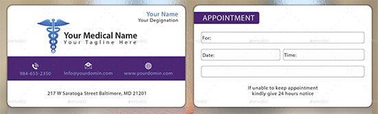 Medical Appointment Card Template