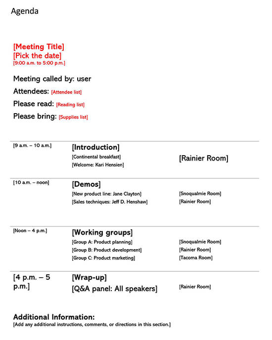 Meeting Planner Template 02