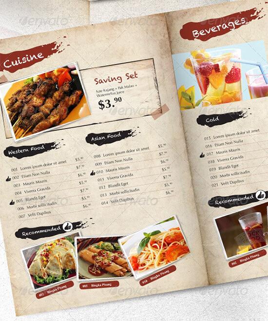 Menu Template for Restaurant Cuisines