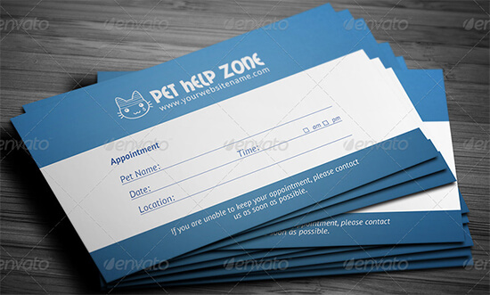Pet Help Appointment Card Template