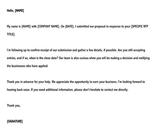 rfp response email template