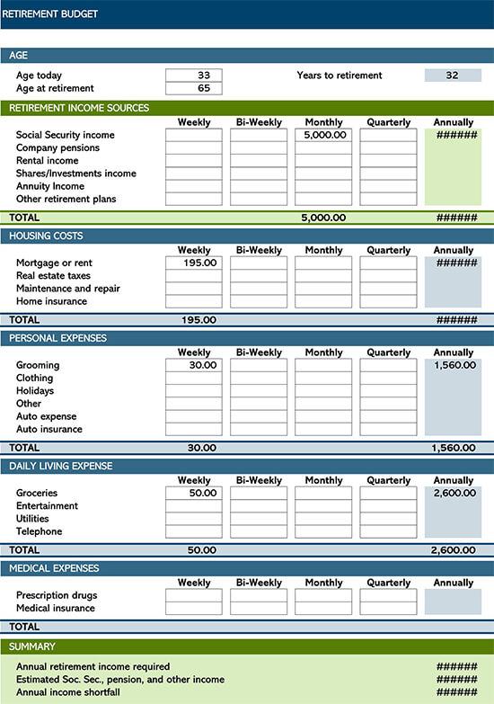 Retirement Budget Planner Template
