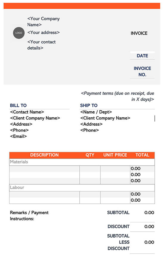 Sample Invoice Template Construction