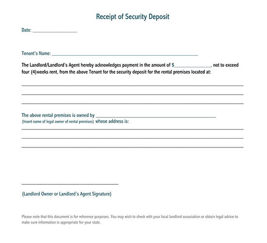 security deposit receipt chicago pdf