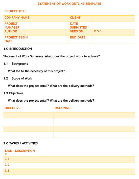 Statement of Work Outline Template
