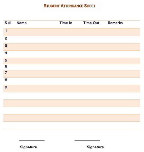 Student Attendance Sheet