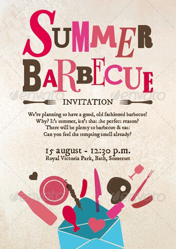Summer Holiday Invitation Card Template