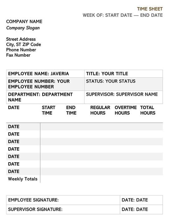 Time Sheet Attendance Template