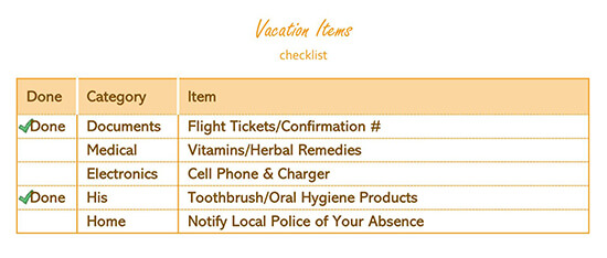 Vacation Items Checklist Template Excel