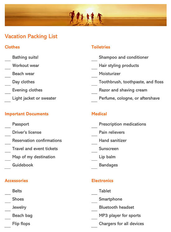 8 Free Packing Checklist Templates Word Excel For Travel Moving