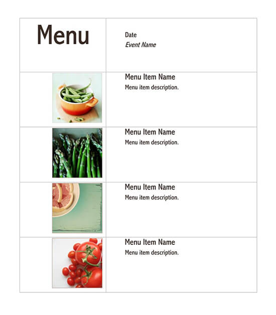 wedding menu template word document