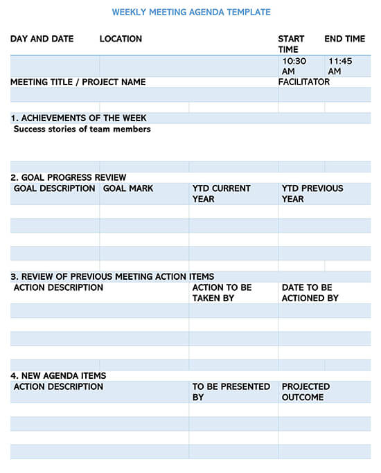 Weekly Meeting Planner Template