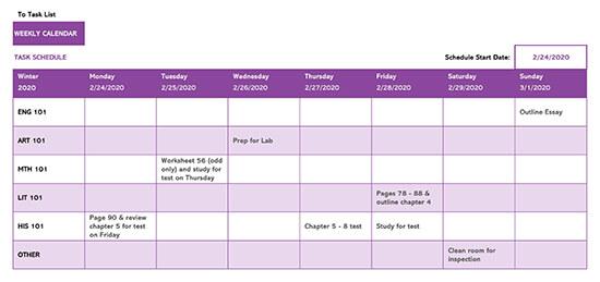 Weekly Task Calendar Template