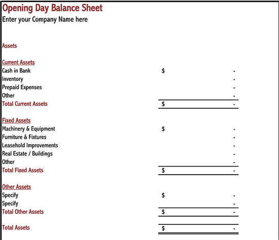 balance sheet template pdf