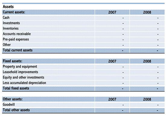 simple balance sheet format