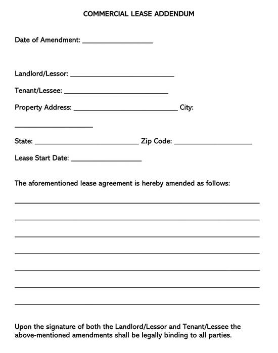 Commercial Lease Addendum Form