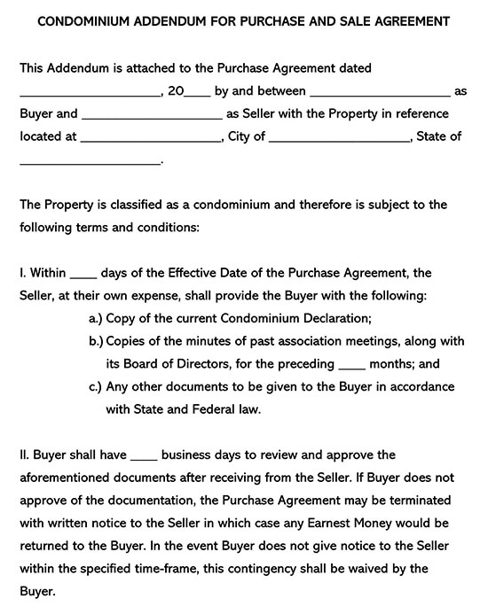 Condominium Association Addendum to Purchase Agreement