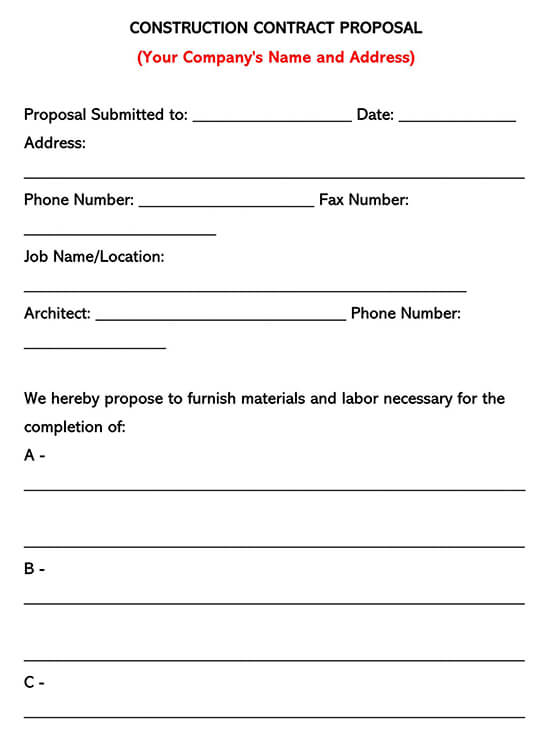 Construction Proposal Template 01