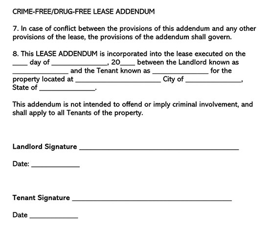 Crime and Drug Free Lease Addendum