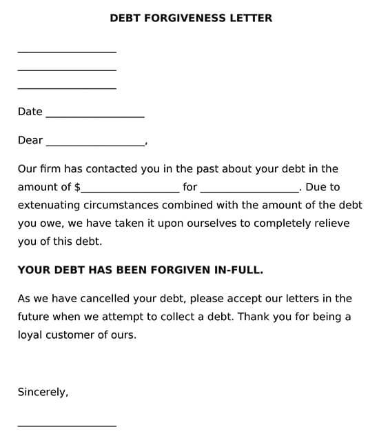 Debt Forgiveness Letter Template