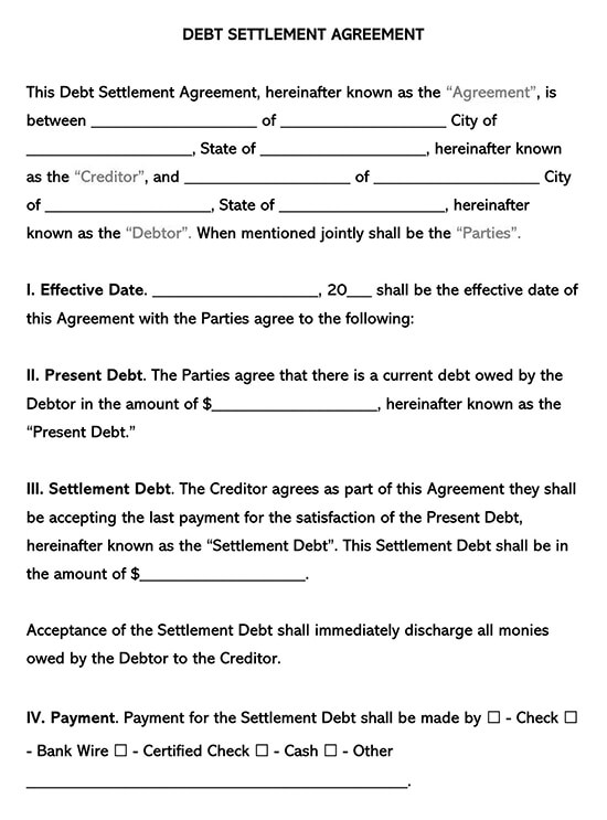 Debt Settlement Agreement Sample Template
