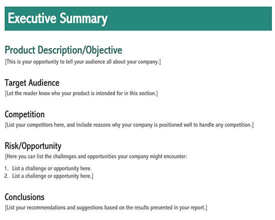 executive summary template pdf