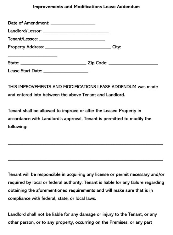 Improvements and Modifications Lease Addendum Form