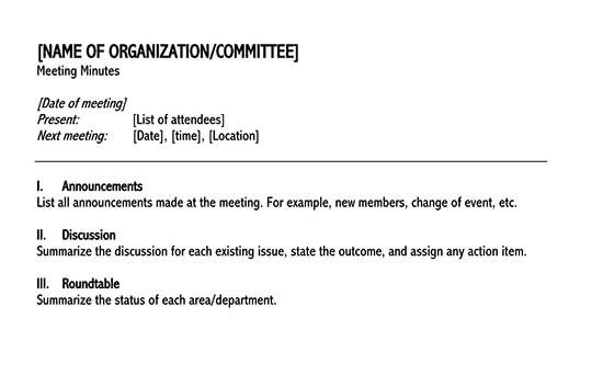 informal meeting minutes template