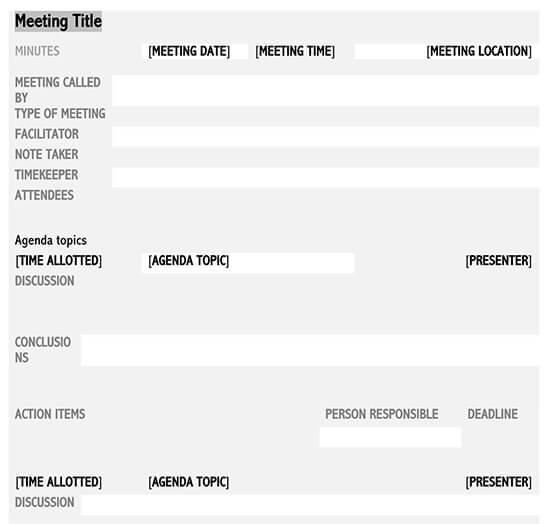 informal meeting minutes template 01